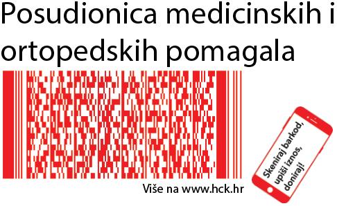 Skenirajte kod mobitelom i donirajte programu Hrvatskog Crvenog križa Posudionica medicinskih i ortopedskih pomagala!